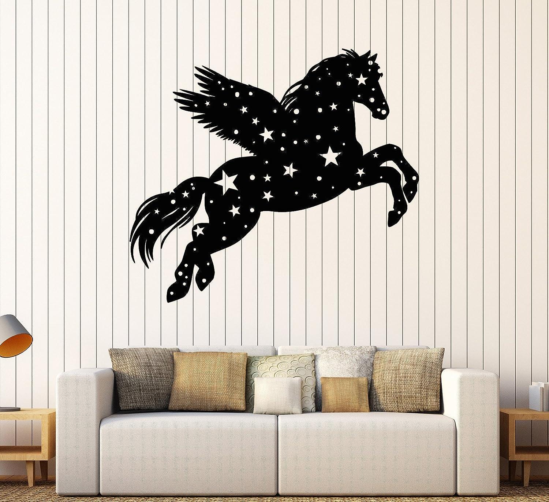 DesignToRefine Vinyl Wall Decal Pegasus Fantastic Beast Fairy Tale Nursery Star Stickers Large Decor (1041ig) Silver Metallic