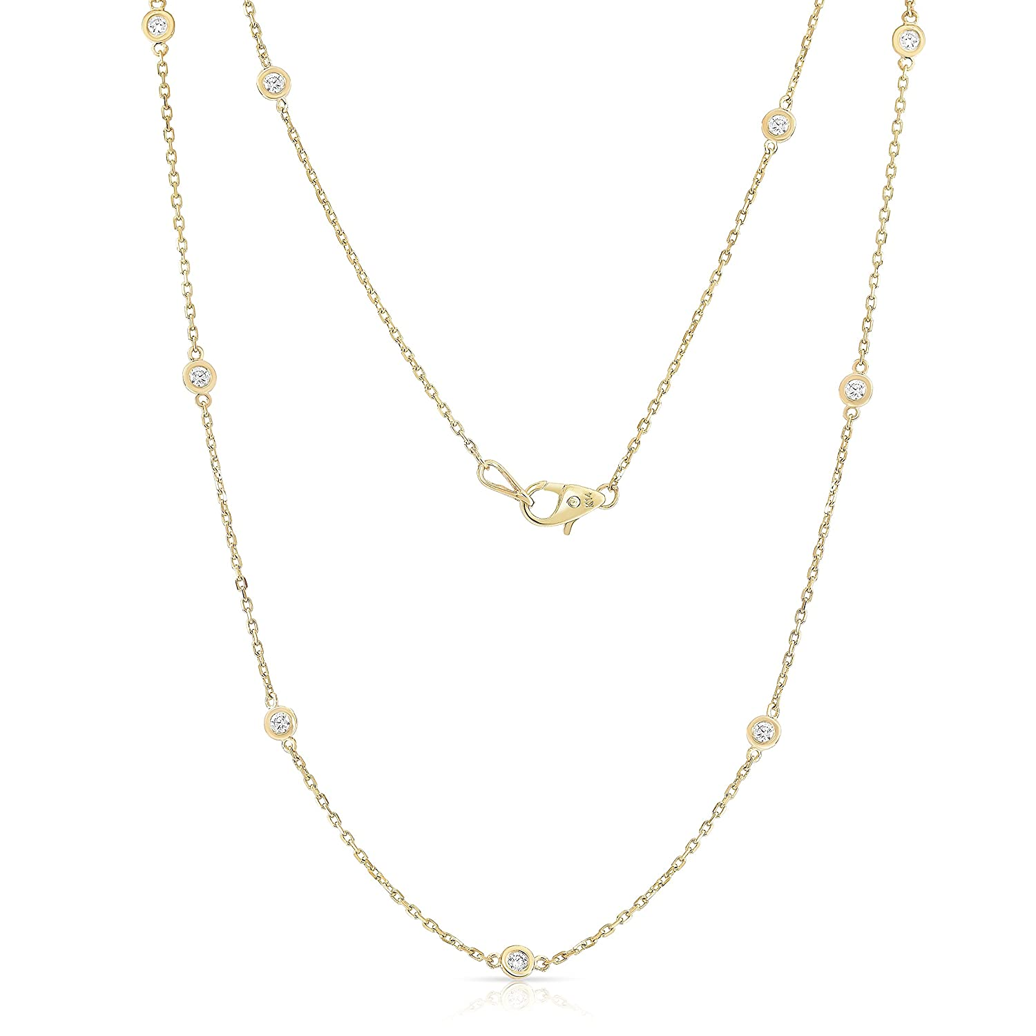 268560df15a046 Noray Designs 14K Yellow Gold Diamond 10 Station Necklace (1 Ct, G-H,  SI2-I1), 18 Inches