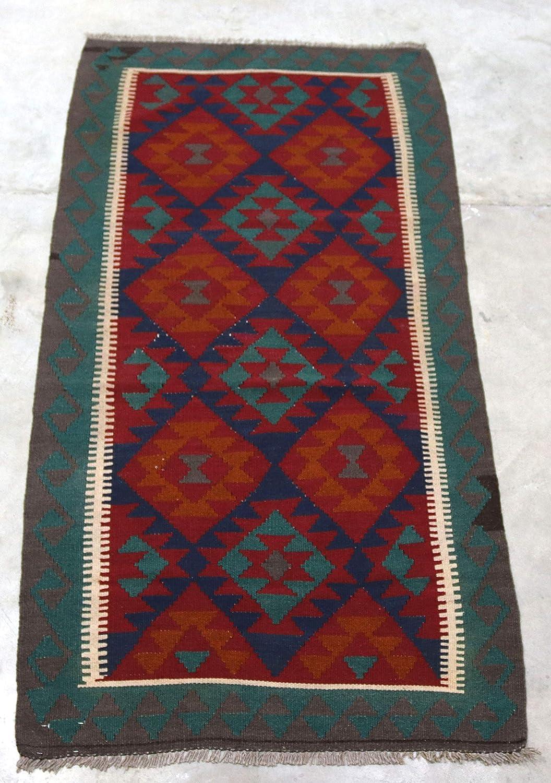 Rugstore Outlet Teal Blue Red Original Afghan Kilim 100 Wool Handwoven Nomadic Tribal Runner Rug 102x203cm Amazon Co Uk Kitchen Home