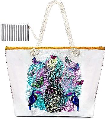 MOOKLIN Beach Bag Holiday Tote Bags Women Large Summer Canvas Travel Shoulder Bag Shopping Bag with Small Handbag for Girls Ladies Women