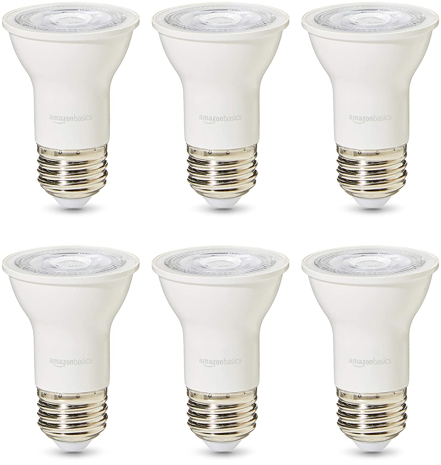 AmazonBasics Commercial Grade LED Light Bulb | 50-Watt Equivalent, PAR16, Warm White, Dimmable, 6-Pack