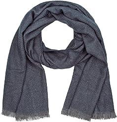 """SIX """"Basic großer, weicher Damen Schal, Stola, zarte Streifen, grau & dunkel blau, Fransen, Herbst Winter, 70 x 200 cm (384-484)"""