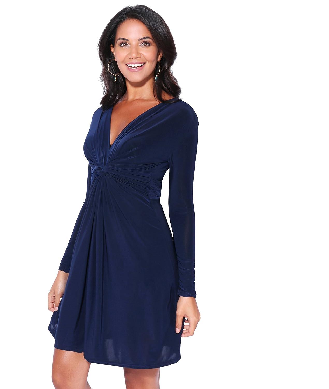 TALLA 48. KRISP Vestido Mujer Corto Talla Grande Boda Noche Manga Cóctel Fiesta Elástico Plisado Elegante Ceremonia Azul Marino (9878) 48