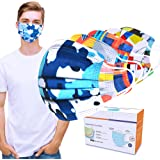 Sheal 100PCS Colorful Disposable Face Masks for Adult, 3Ply with Adjustable Earloop, Bright Geometric Patterns Design