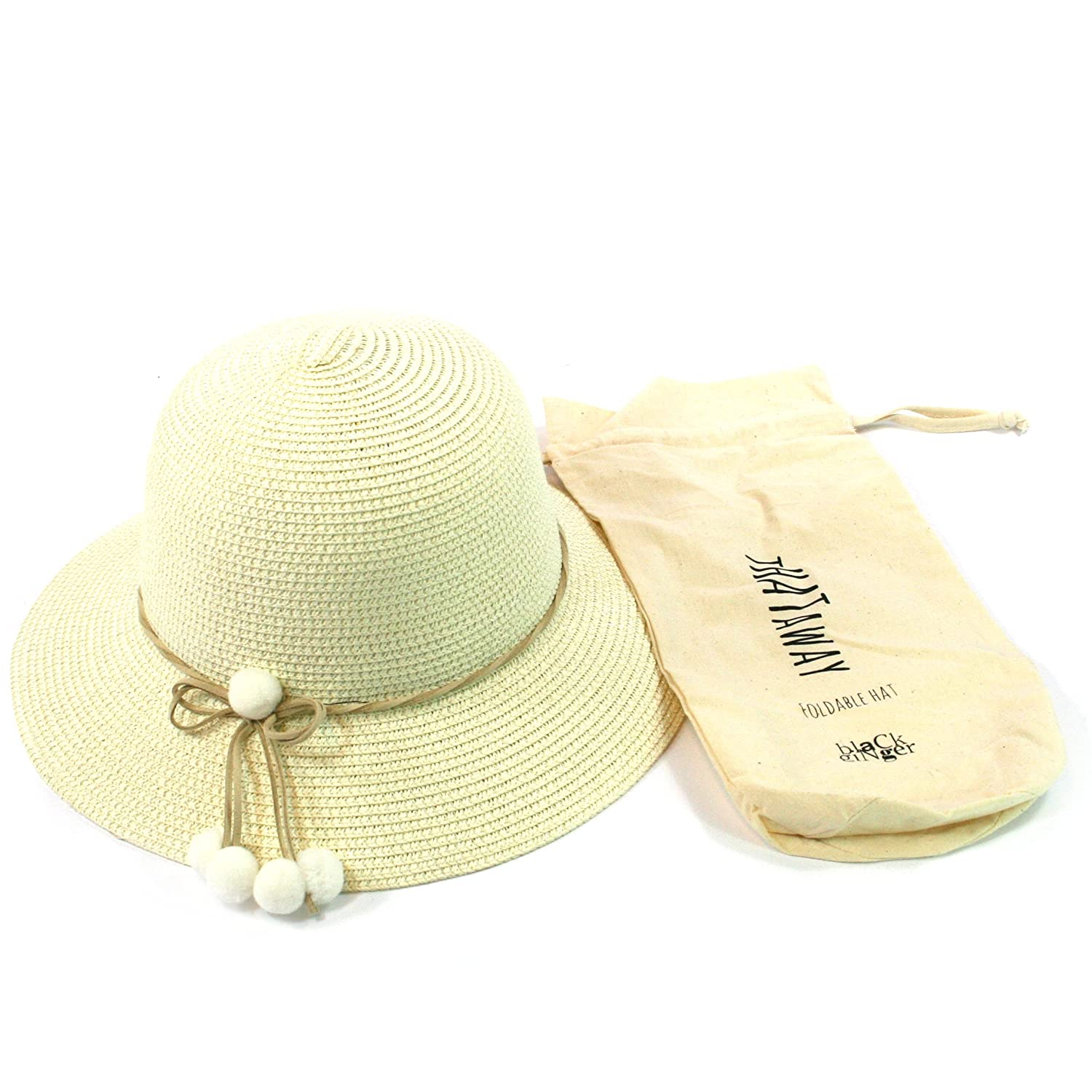 598a03c0e Black Ginger Folding Sun Hat with Pompom Decorations. Straw Hat That can be  Folded into its Travel Bag. Ladies. Adjustable Size.