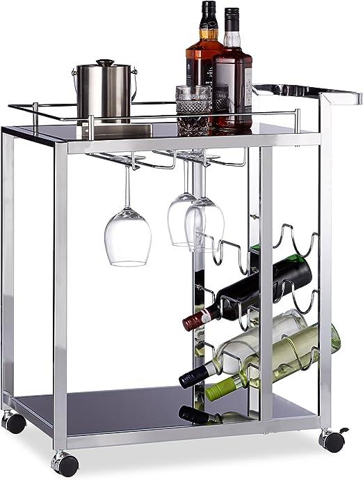 Weinregal Servierwagen Glas BARON Design schwarz Metall Küchenwagen Rollwagen