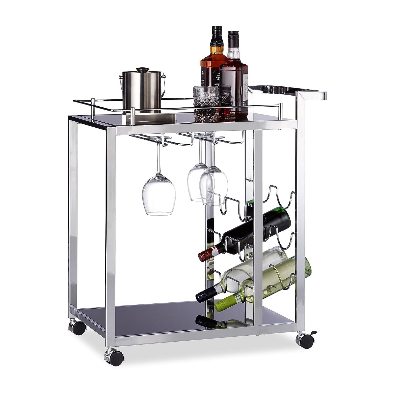 Relaxdays Desserte de cuisine verre BARON design noir étage pour 6 bouteilles de vin métal chariot 4 roues HxlxP