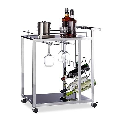 Relaxdays Carrito de Servir de Cristal Baron, diseño, Vino botellero con Forma de Cesta