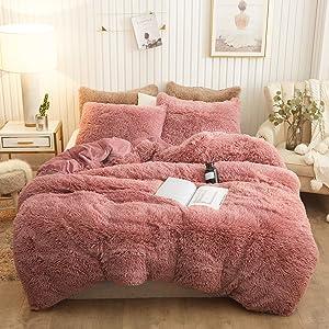 XeGe Plush Shaggy Duvet Cover Set Luxury Ultra Soft Crystal Velvet Bedding Sets 3 Pieces(1 Faux Fur Duvet Cover + 2 Faux Fur Pillowcases),Zipper Closure(Queen,Old Pink)