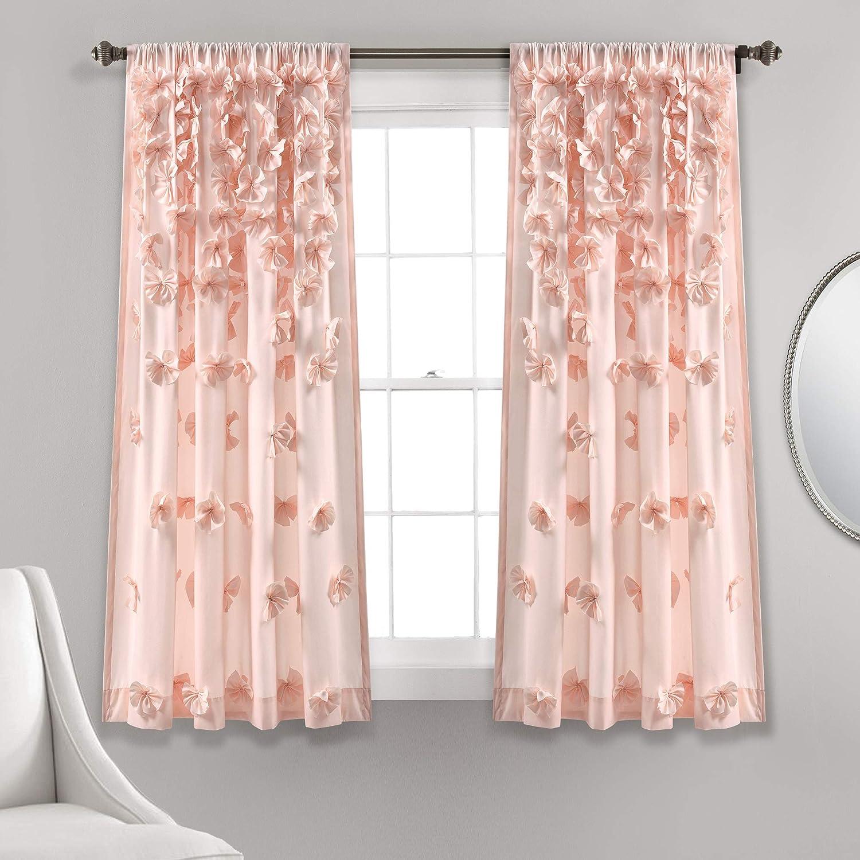 "Lush Decor Riley Curtain Sheer Ruffled Textured Bow Window Panel for Living, Dining Room, Bedroom (Single) 63"" x 54"" Blush"