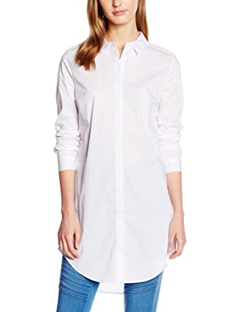 PIECES Damen Hemd Pcbenita LS Long Shirt Noos, Weiß (Bright White), 34