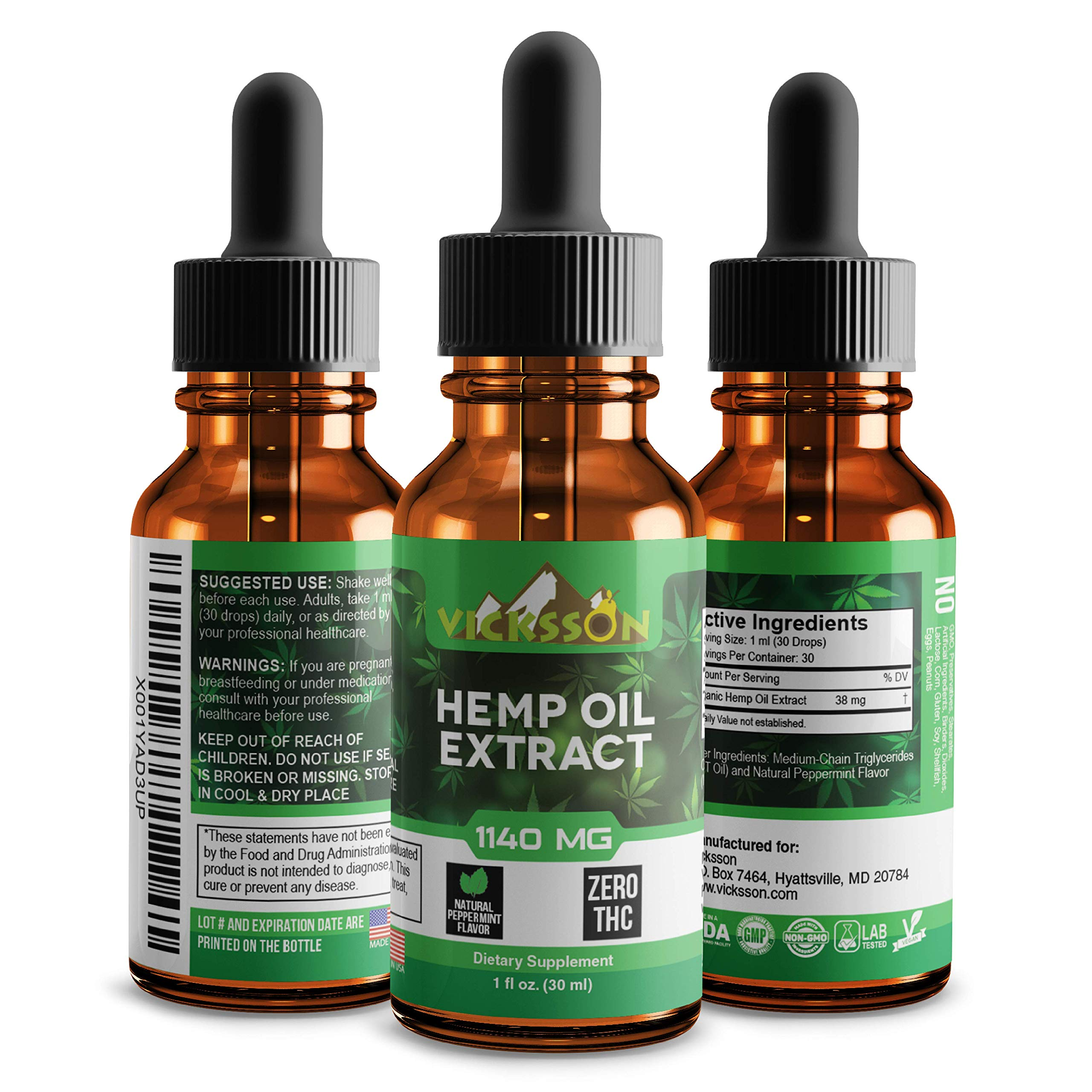 Vicksson Organic Hemp Oil Drops 1140 Mg – Hemp Seed Extract for Pain, Anxiety & Stress Relief with MCT Fatty Acids – Sleep, Mood, Anti-inflammatory, Joint, Skin, Hair Support Supplement Oil