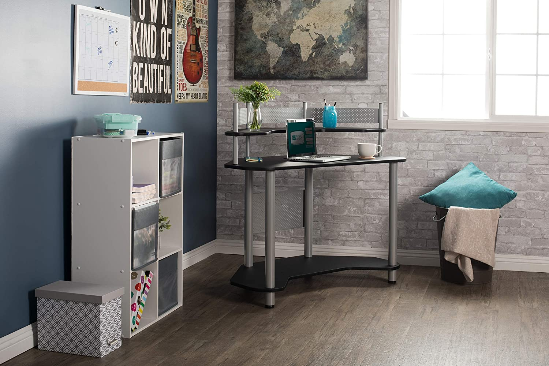 Calico Designs 55123 Study Corner Desk, Silver with Black