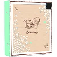Large Ringbinder Photo Album 500 Photos Memories Holds 6x4 Photos - Designed with a Beautiful Gold Foil with Peelable Descriptive Sticker