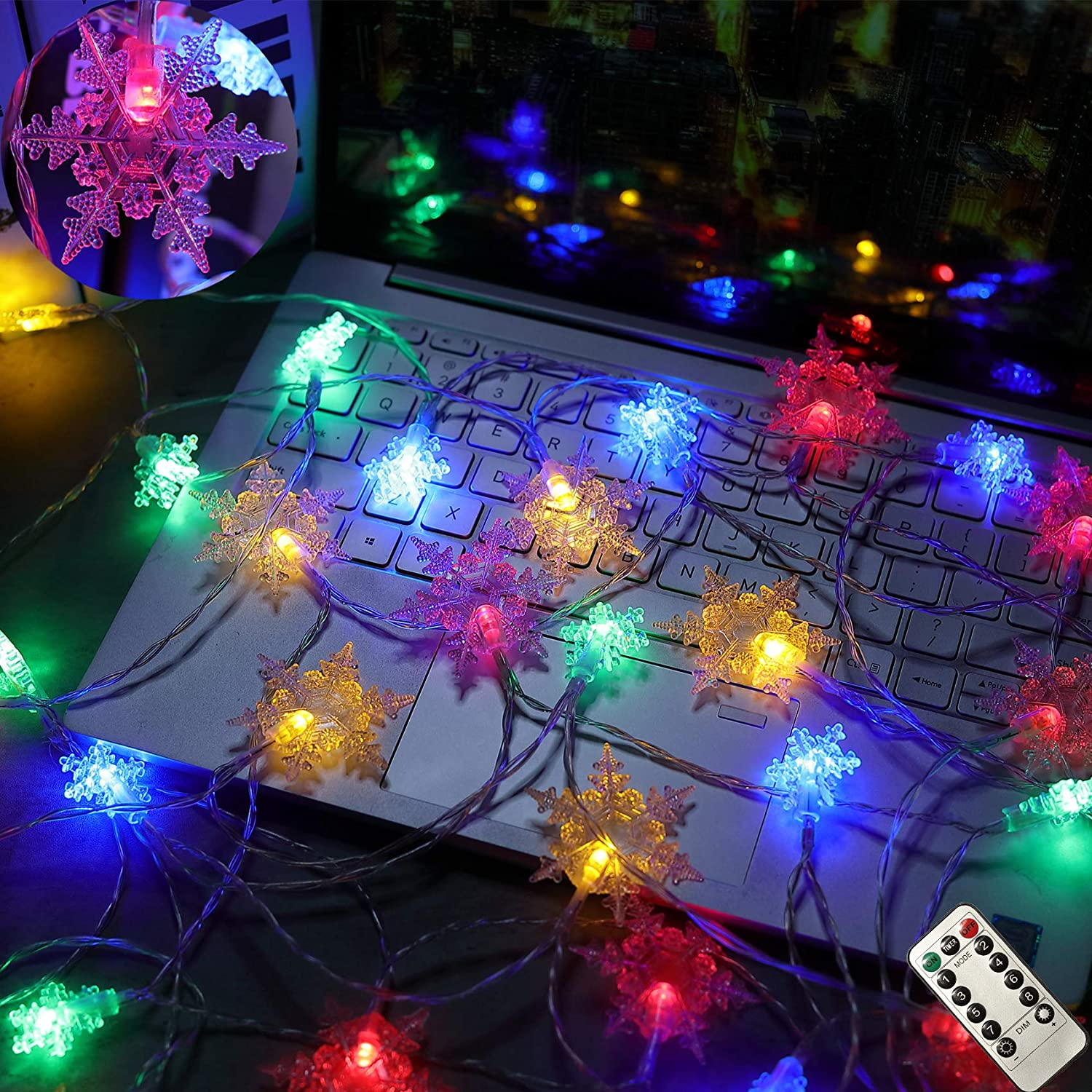 HOME RIGHT Christmas String Lights, 20Ft 40 LED Snowflake Decorative Waterproof Remote Control Battery Operated String Lights for Indoor Outdoor Garden Patio Yard Camping Halloween Holiday Multicolor
