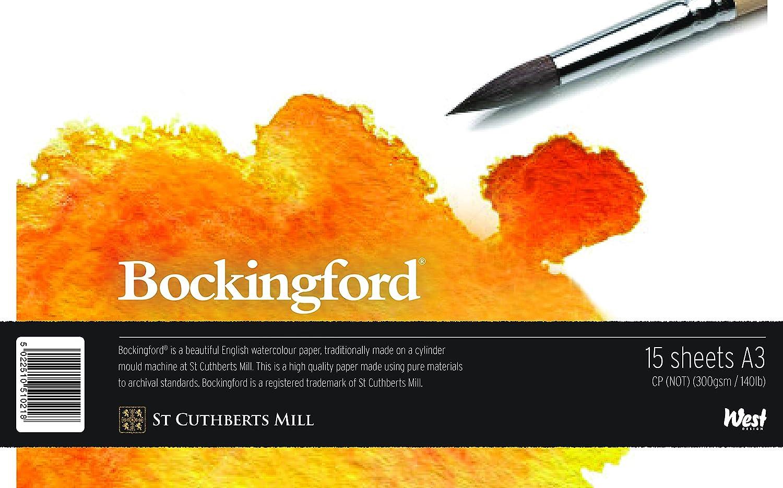 Bockingford WD510256 - Blocco di fogli da disegno per acquerelli e altre tinte miste, formato DIN A3, rilegato West Design Products Ltd