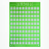 Gift Republic 100 Places-Scratch Off Bucket List Poster, Paper, Green, 42 x 59.4 x 0.02 cm