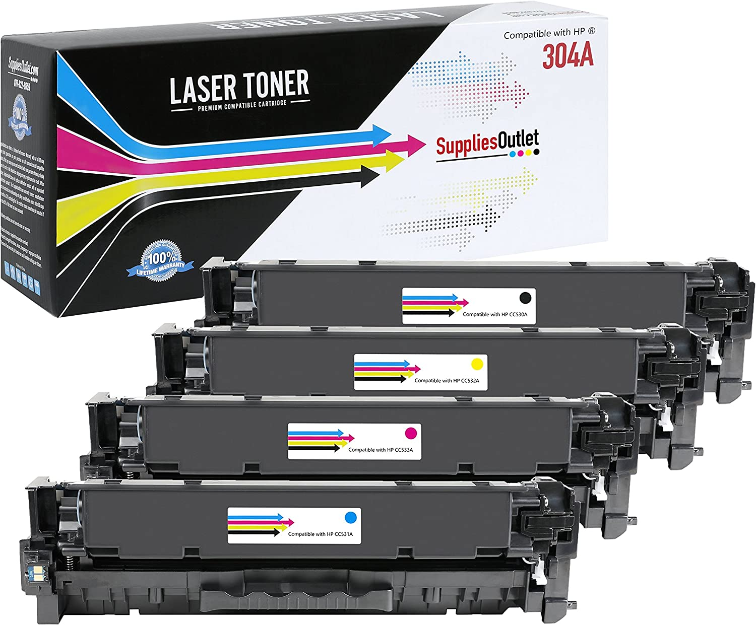 Generic Compatible Toner Cartridge Replacement for HP CP2025 ( Black,Cyan,Magenta,Yellow , 4-Pack )