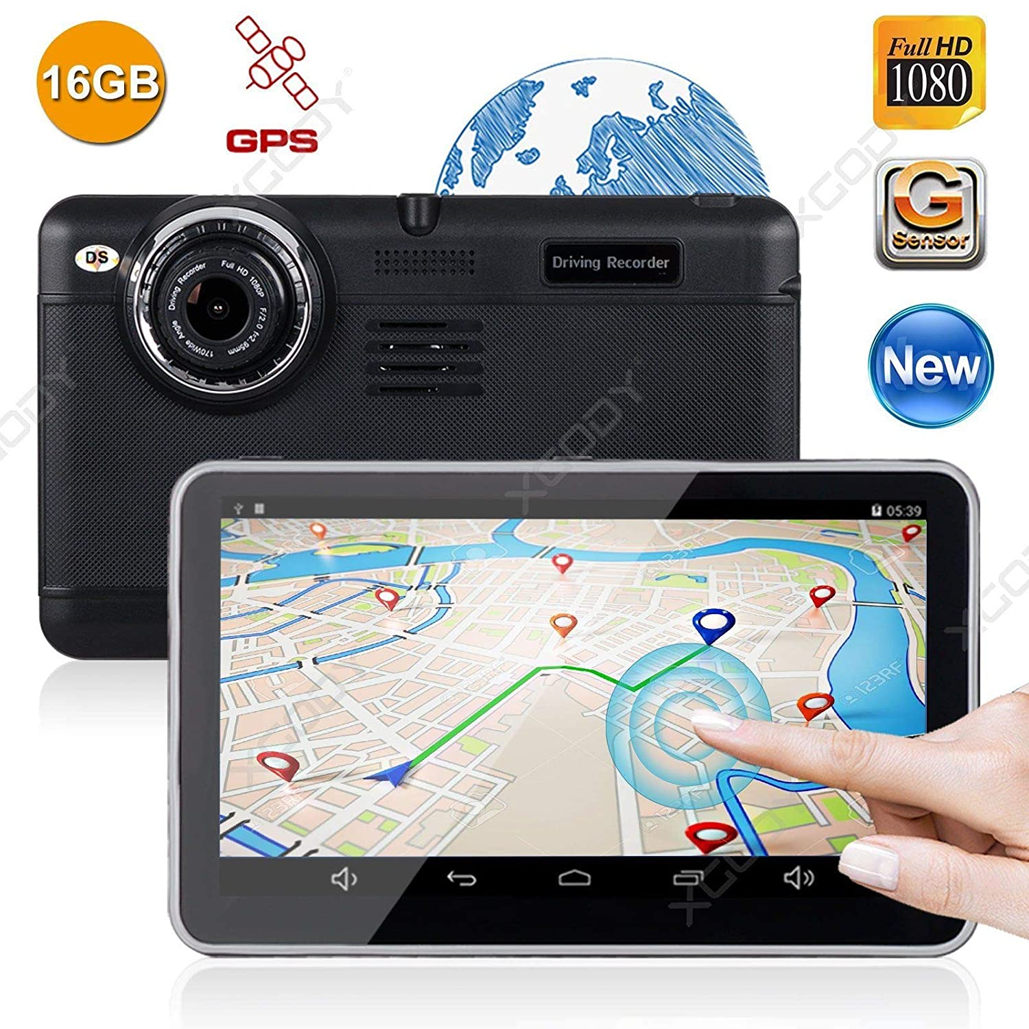 FidgetFidget Car GPS Navigation 7' HD 1080P Vehicle DVR Video Camera Recorder Dash Cam WiFi