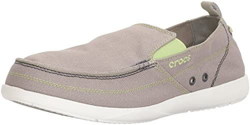 161f8b7ad crocs Men s Walu Light Grey and White Canvas Loafers and Mocassinss - M10