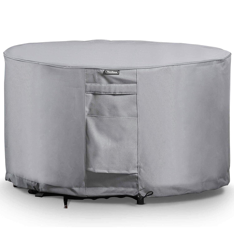 VonHaus Copertura per tavolo rotondo – Tessuto traspirabile resistente all'acqua per uso interno ed esterno – Protegge da vento, pioggia, gelo, caldo, polvere e altro Domu Brands