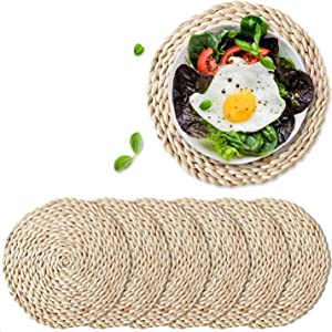 """6 Pack Woven Placemats,Round Corn Husk Weave Placemat Braided Rattan Tablemats 11.8"""""""