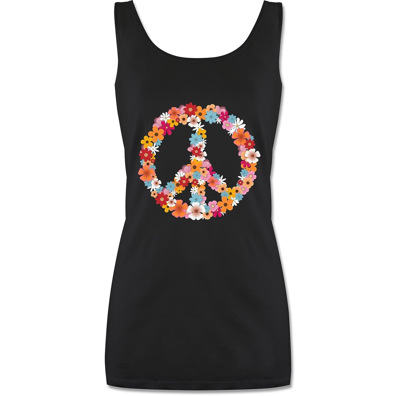 Statement Shirts - Peace Flower Power - Lang-Geschnittenes Tanktop für Damen Shirtracer P72