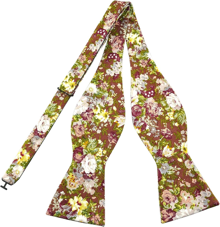 Groom PenSee Mens Formal Bowtie Rose Floral Print Cotton Self Bow Ties for Wedding Groomsmen