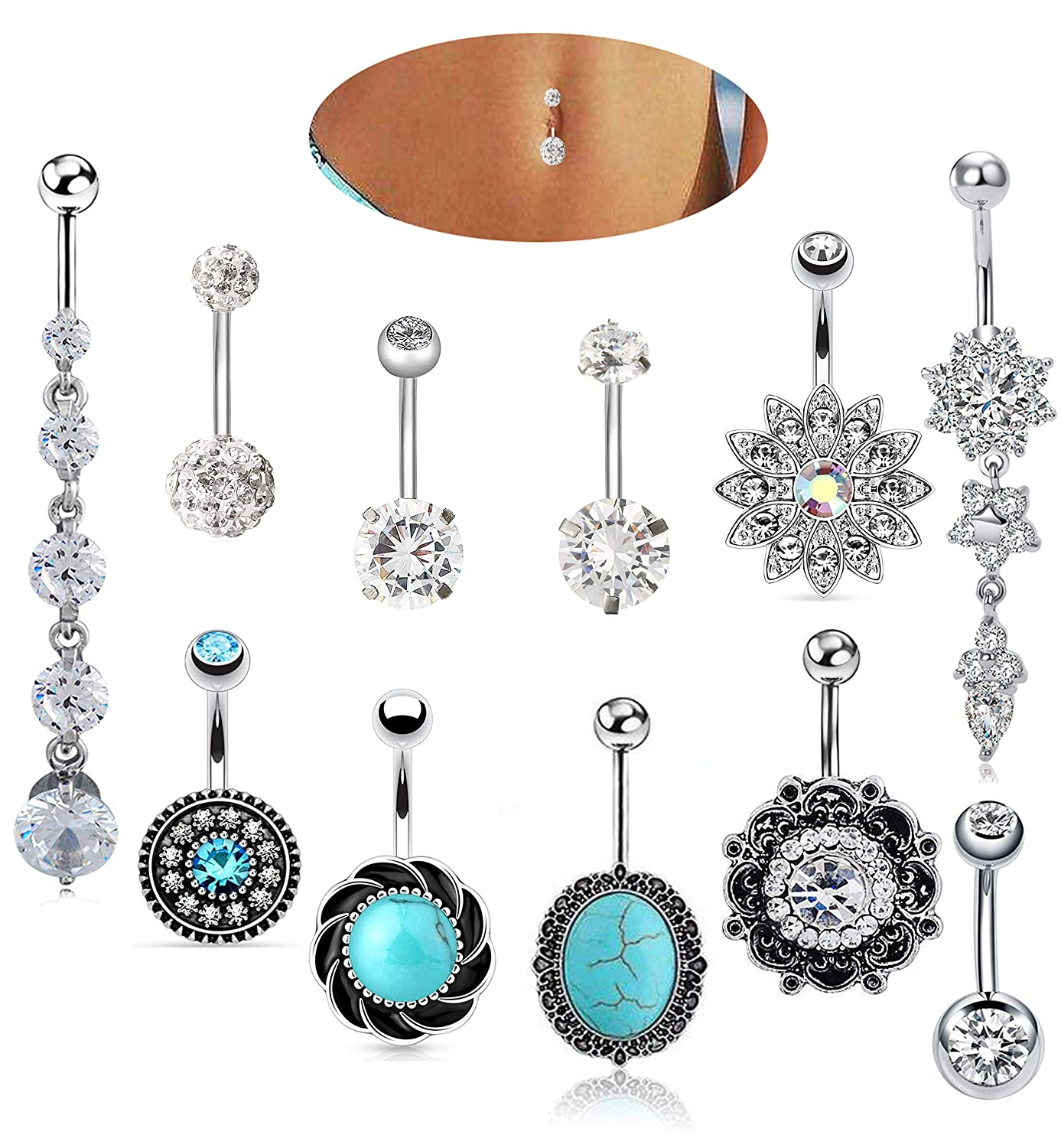 EVELICAL 4-11Pcs 14G Stainless Steel Belly Button Rings for Women Girls CZ Screw Navel Bars Body Piercing Jewelry B077S1H71C_US