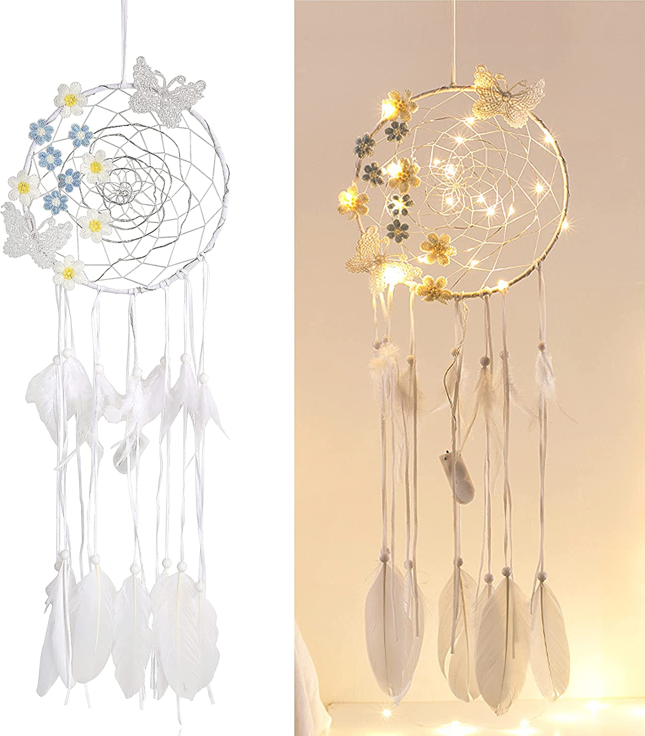 DUQGUHO Butterfly Flower Dream Catcher Wall Hanging Ornament Decor for Girl Bedroom Baby Room LED Lights Handmade White Feather Dreamcatcher Home Decoration