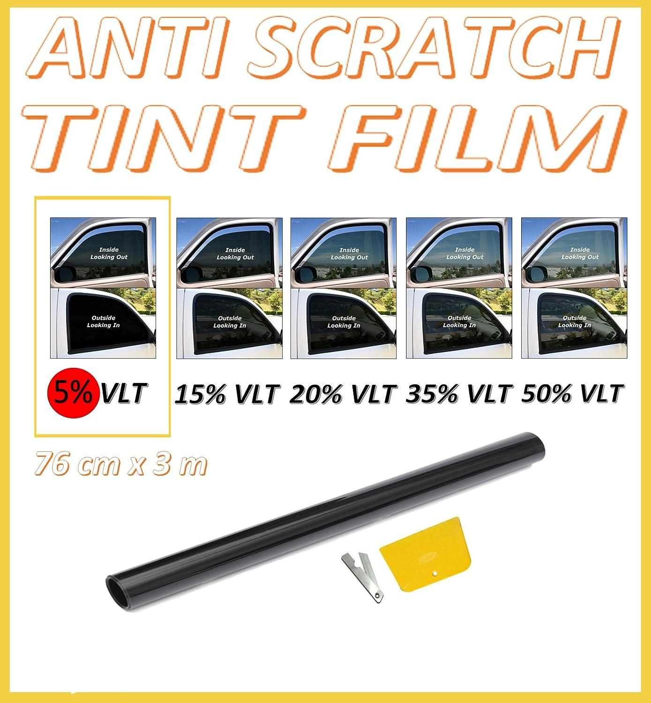 ANTI-SCRATCH CAR VAN WINDOW TINT FILM SUPER DARK LIMO BLACK 5/% 76cm x 3M