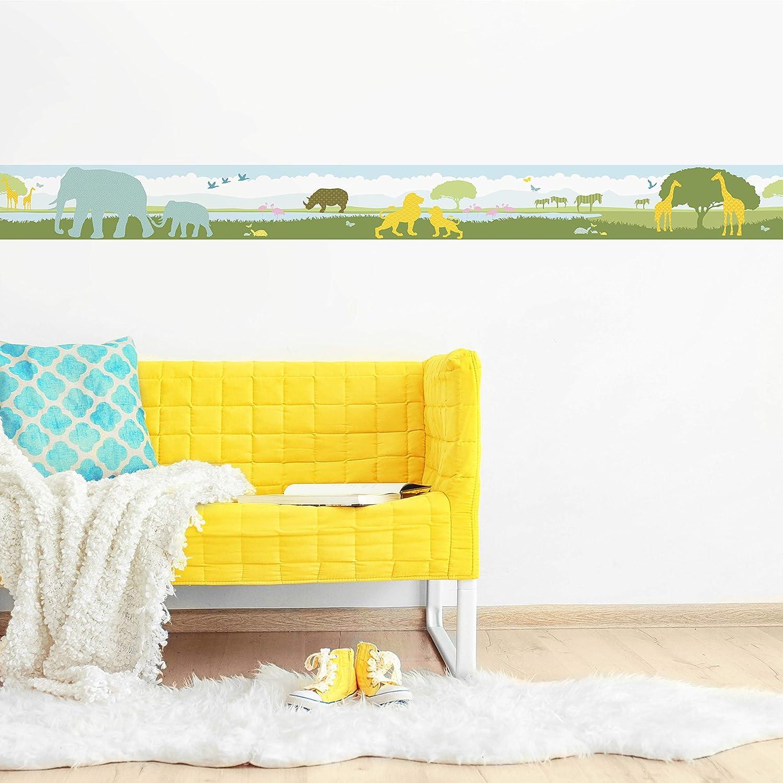 Wandbord/üre Kinderzimmer//Babyzimmer mit Afrika-Tieren Wanddeko Baby//Kinder anna wand Bord/üre selbstklebend AFRICAN ANIMALS Wandtattoo Schlafzimmer M/ädchen /& Junge