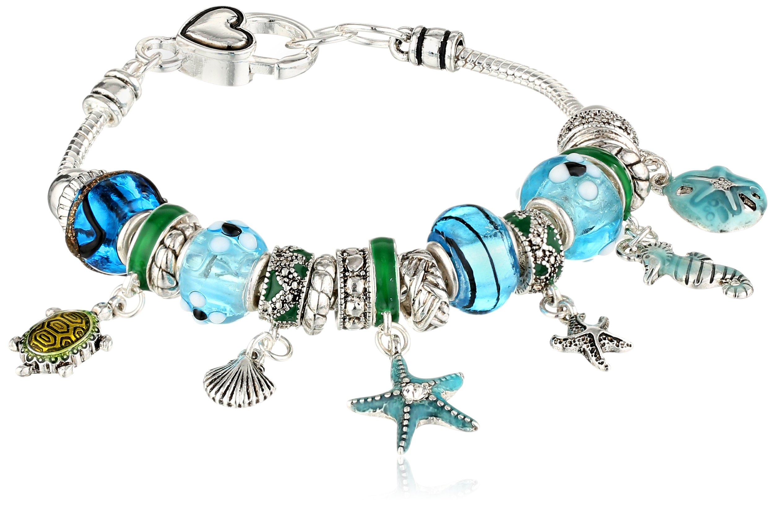 Silver Tone Metal and Glass Beach Themed Bead Charm Bracelet