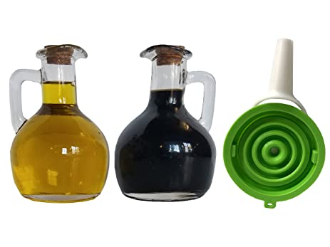 Olive Oil Container By Signature Kitchen | Thick 8 Ounce Glass Holder For  Olive Oil And
