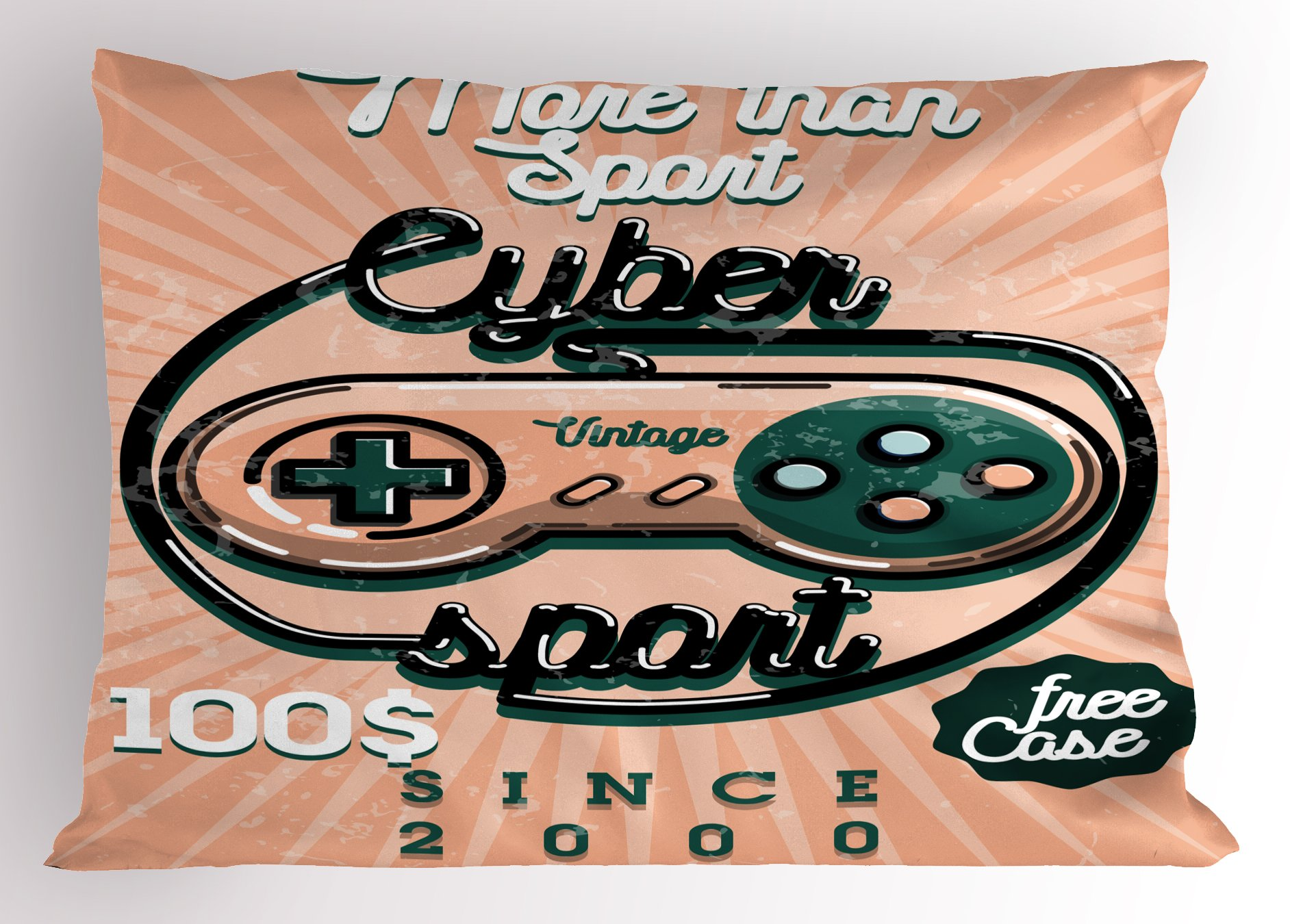Lunarable Gamer Pillow Sham, Vintage Videogame Controller with Cyber Sport Quote Nineties Retro Design, Decorative Standard Size Printed Pillowcase, 26 X 20 inches, Coral Emerald Black