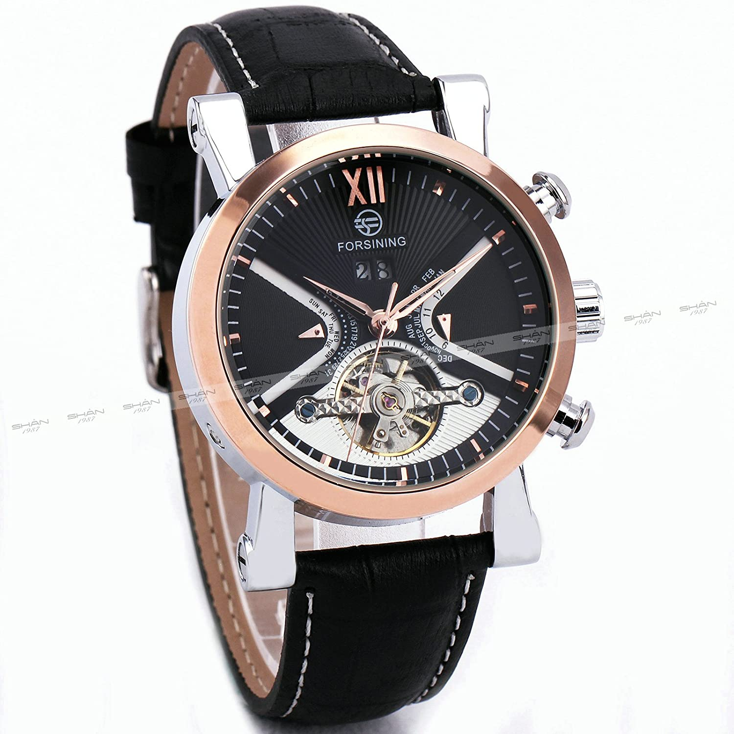 Amazon.com: FORSINING Luxury Business Tourbillon Mechanical Watch Leather Strap Automatic Rose Gold Skeleton Case + BOX: Watches