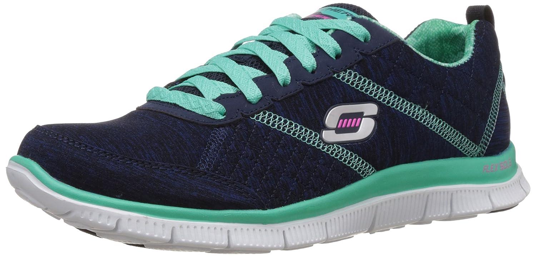 Skechers Sport Women's Pretty Please Flex Appeal Fashion Sneaker B00PIHXIZY 7 B(M) US|Navy Aqua