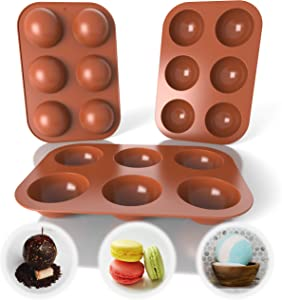 Chocolate Bomb Mold - 3pcs Silicone Molds for Baking with 6 Holes - Candy & Chocolate Molds for Dessert – Silicone Molds for Hot Chocolate Bombs Food- Semi Sphere Silicone Mold