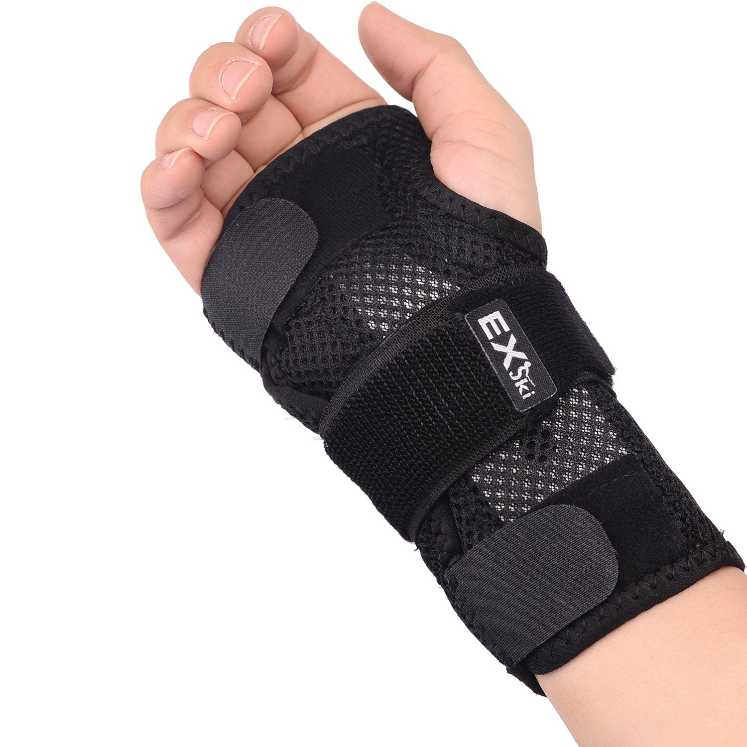 EXski Double Wrist Splints Compression Hand Support Brace for Carpal Tunnel Syndrome Tendonitis Sprains Right Or Left Hand 1 Piece Removable Left Small