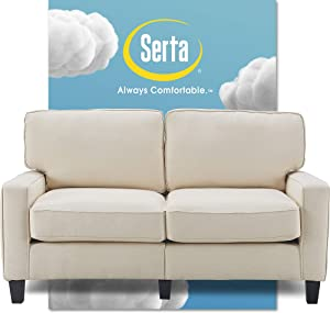 "Serta Palisades Upholstered Sofas for Living Room Modern Design Couch, Straight Arms, Soft Fabric Upholstery, Tool-Free Assembly, 61"" Loveseat, Buttercream"