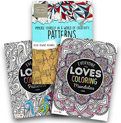 Amazon.com: Advanced Adult Coloring Book Set -- Pack Of 3 Premium Patterns  And Mandalas Coloring Books For Adults (Pattern Collection): Toys & Games