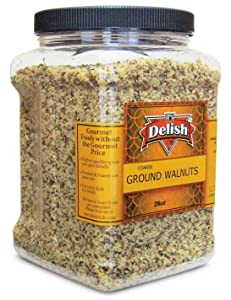 Gourmet Ground Walnuts (Pure Kosher Walnut Meal) by Its Delish – 28 Oz Jumbo Reusable Container – Healthy Baking, Cooking & Eating Recipes – Dairy & Egg Free, Protein-Packed Substitute for Flour