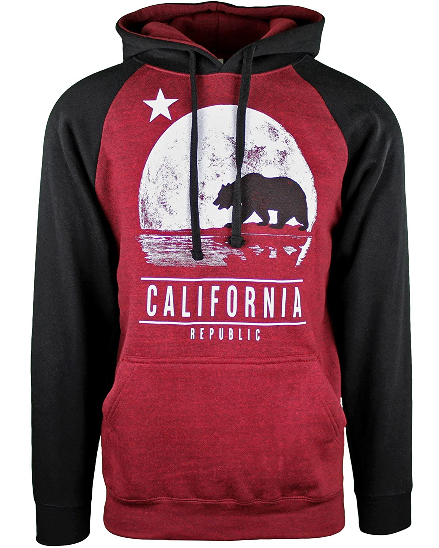 California Republic Moon State Bear Mens Hoodie Sweatshirt