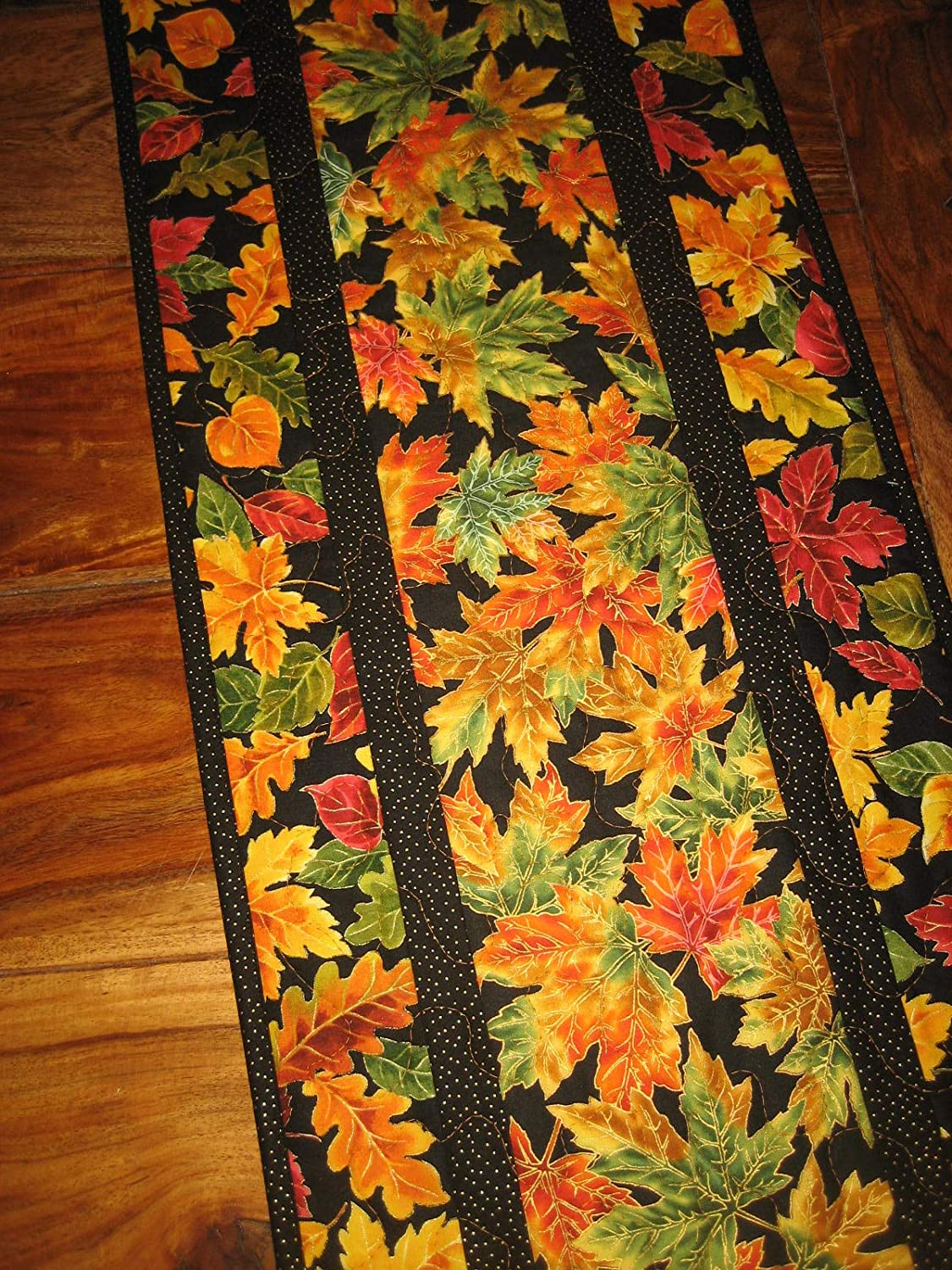 Rust Gold Autumn Leaves Reversible Quilted Dining Coffee Table 13 x 48 in. Fall Table Runner