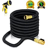 75ft EXPANDABLE GARDEN HOSE - Expanding Water Hose with Heavy Duty Triple Layered Latex Core and Free 10 Spray Nozzle Light Weight Flexible Expandable Hose Solid Brass Ends XpandaHose by J&B Lawn
