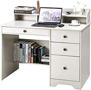Kealive Computer Desk with 4 Drawers and Hutch Shelf, Wood Frame Home Office Desk with Spacious Desktop, Vintage Style Writing Study Table PC Laptop Notebook Desk, White Oak