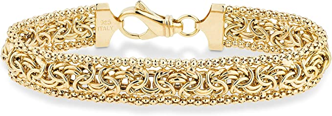 Free USA Shipping 18K Gold Plated Over Sterling Silver Ship Worldwide Bow Bracelet Made in Italy