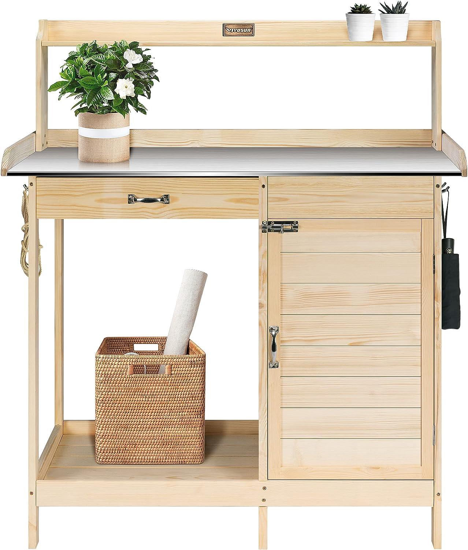 VIVOSUN Garden Potting Bench Outdoor Wood Workstation Table with Metal Tabletop, Cabinet, Sliding Drawer Shelf Natural Wood