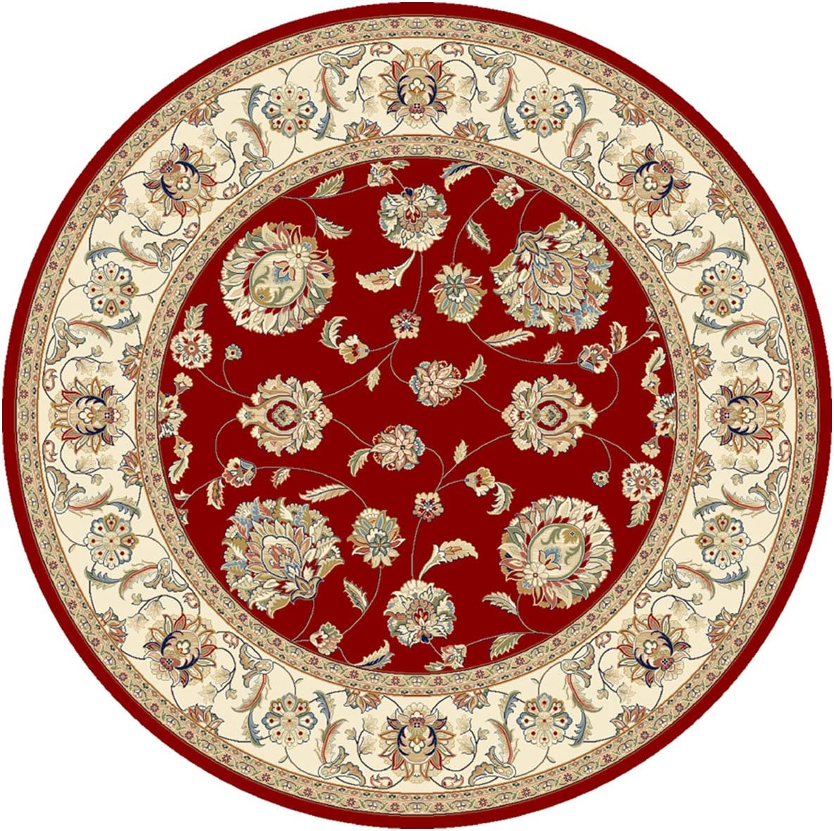 """Dynamic Rugs Ancient Garden 57365-1464 Round Rug, 7'10"""", Red/Ivory"""