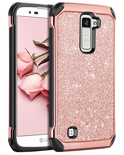 size 40 89380 c8219 LG K10 Case, LG Premier LTE L62VL L61AL Case, BENTOBEN Sparkly Hybrid Hard  Cover Laminated with Luxury Shiny Synthetic Leather Shockproof Protective  ...